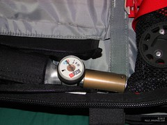 Photo of the gauge and trigger module on the gas cylinder.  Venturi intake is also visible.